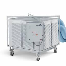 Máquina de insuflação e climatização, modelo ECCO 155 TURBO SIROCO, em fundo branco, vista do painel